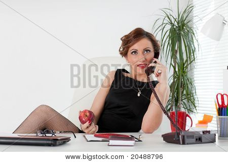 Businesswoman Speaks By Phone.