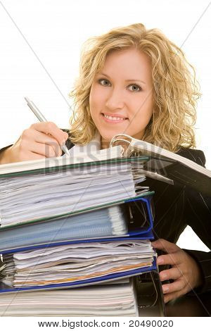 Business Woman Working On Files