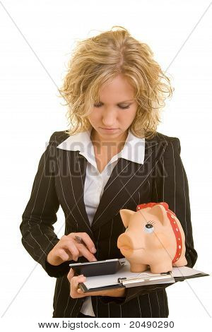 Business Woman Calculating Costs