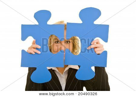 Woman Showing Two Jigsaw Pieces