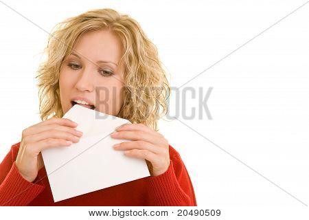 Woman Licking An Envelope