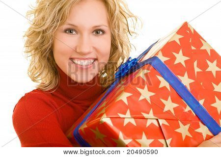 Happy Woman With Big Gift