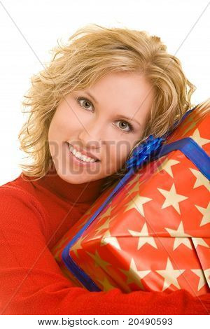 Happy Woman Embracing Gift