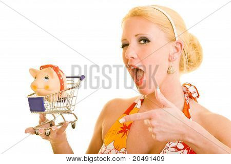 Woman Buying A Piggy Bank