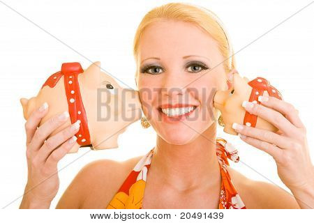 Woman Getting Kissed By Piggy Banks