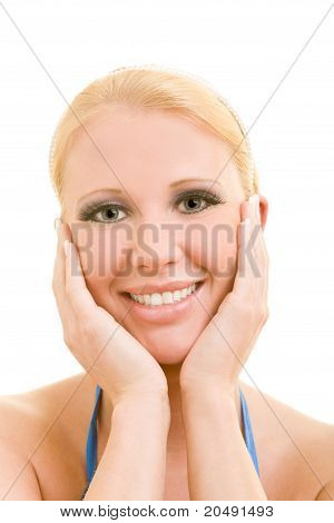 Blonde Woman Smiling Happily