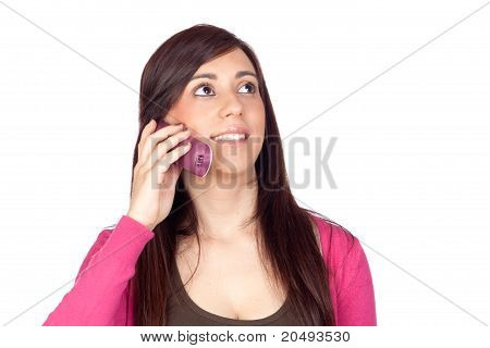 Brunette Girl With A Phone