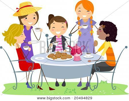 Illustration of Ladies Having a Tea Party