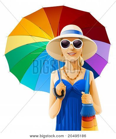 Girl In Hat With Umbrella