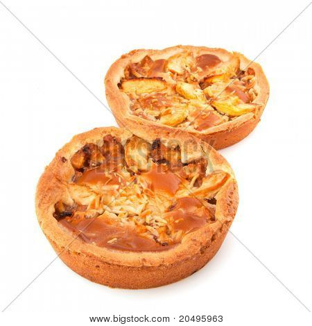 Two whole apple pies on white background