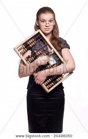 Girl With Big Wooden Accounts And Money