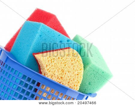 Brightly Colored Sponges On White Background