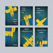 Sweden Patriotic Cards For National Day. Expressive Brush Stroke In National Flag Colors On Dark Str poster