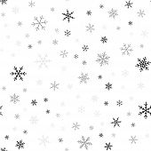 Black Snowflakes Seamless Pattern On White Christmas Background. Chaotic Scattered Black Snowflakes. poster