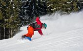 Постер, плакат: Male Snowboarder Riding On The Snowy Slope On Beautiful Sunny Day Freeride Snowboarding Copyspace E