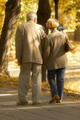 picture of middle-age  - autumn meeting of middle age couple  leading by the hand - JPG