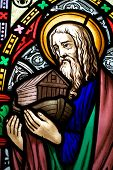 foto of noah  - detail of victorian stained glass church window in Fringford depicting Noah with the ark - JPG