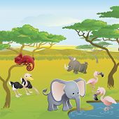 picture of cartoon animal  - Cute African safari animal cartoon characters scene - JPG