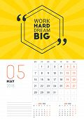 Wall Calendar Template For May 2018. Vector Design Print Template With Typographic Motivational Quot poster