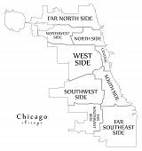 Modern City Map - Chicago City Of The Usa With Boroughs And Titles Outline Map poster
