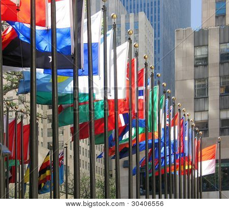 Long row of flags in Rockefeller Plaza, New York City