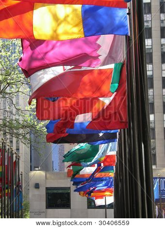 Colorful flags in Rockefeller Plaza, New York City