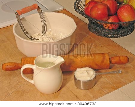 Ingredients and utensils for baking a pie