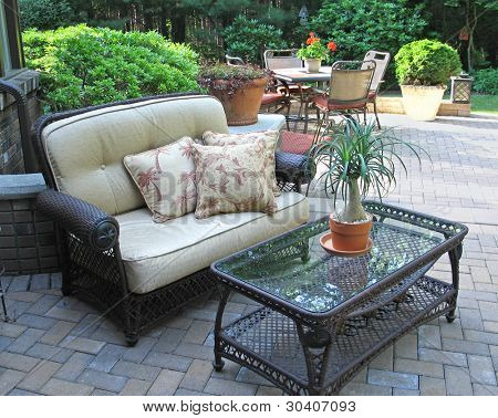 Stylish patio with furnishings
