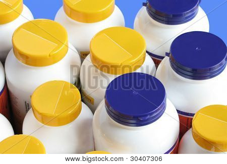 Bottles of nutritional supplements