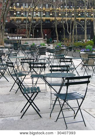 Outdoor dining area in Bryant Park, NYC