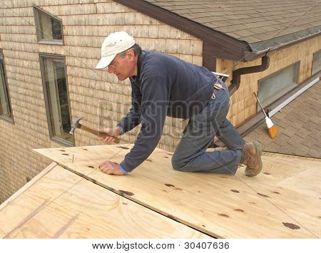 Carpenter applying plywood sheathing to roof of addition