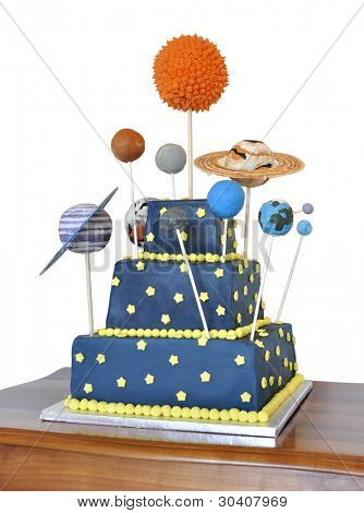 Birthday cake decorated with all the planets of the solar system