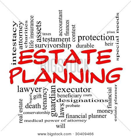 Estate Planning Word Cloud Concept In Red Caps