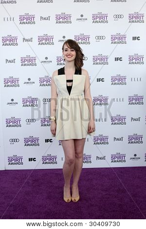 LOS ANGELES - FEB 25:  Joslyn Jensen arrives at the 2012 Film Independent Spirit Awards at the Beach on February 25, 2012 in Santa Monica, CA