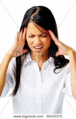 Stressful woman struggles with bad migraine, isolated on white