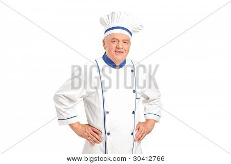 Portrait of a smiling chef isolated against white background