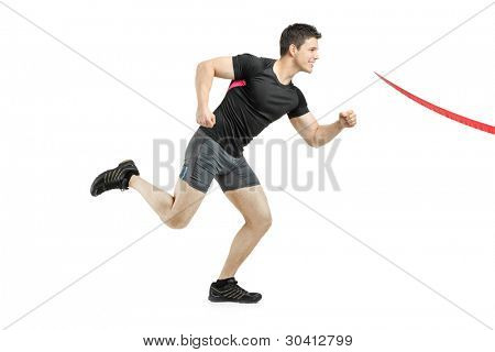 Athlete running towards the finish line isolated on white background