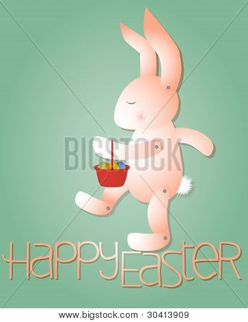 Pink Rabbit With Easter Eggs