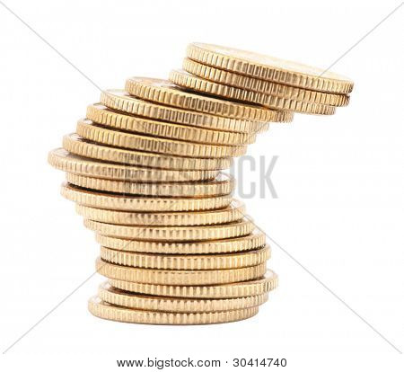 Unstable stack of golden coins isolated on white background