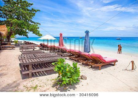 Beautiful sea and coastlines of island Trawangan, Indonesia.