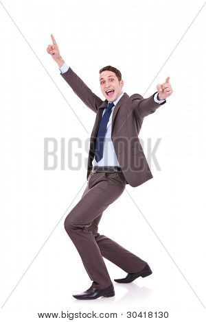 Full length of successful business man gesturing success with his hands in the air on white background