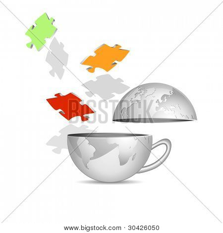 Globe and puzzle pieces - abstract teamwork icon against white background - business concept