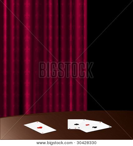 wooden table and cards