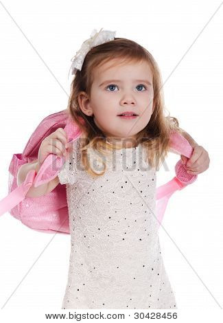 Ortrait Of Little Girl With A Backpack