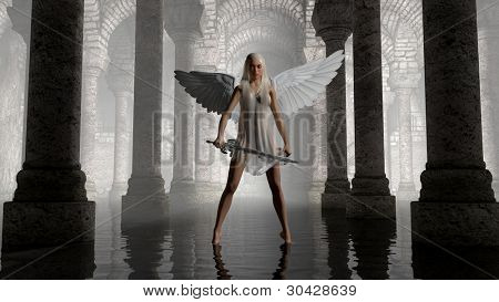 warrior angel in dark chamber