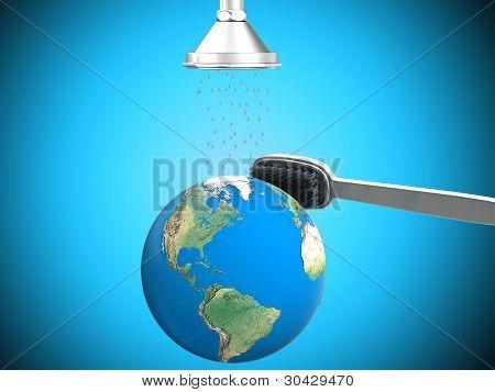 Earth in shower