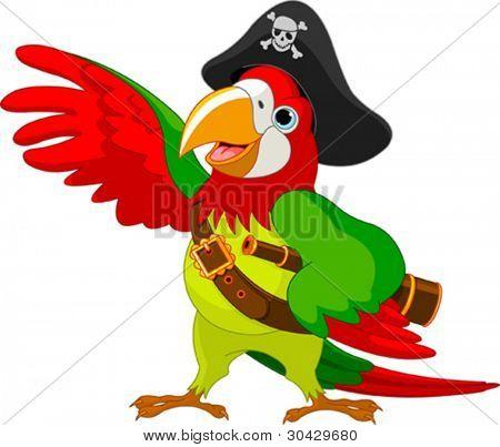 Ilustração de falando papagaio de pirata