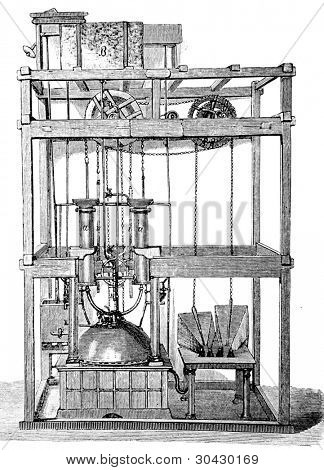 The first European steam engine.  Illustration from