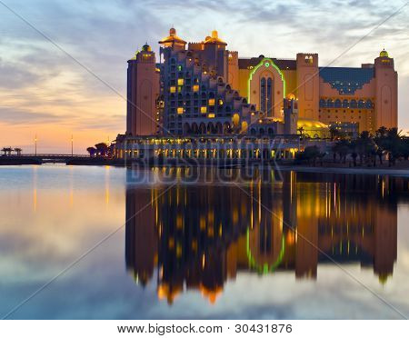 Evening view on resort hotels and decorative illumination on the northe beachof Eilat, Israel