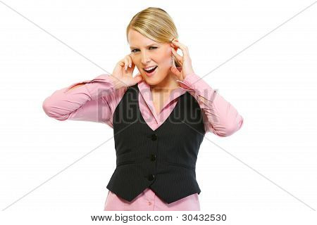 Frustrated Woman Employee Closing Ears